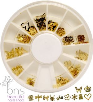 120 3D Gold Flower Insect Spangles Nail Art Decoration